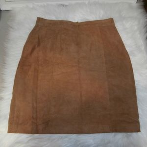 The Limited Cognac Brown Suede Leather Skirt - A31